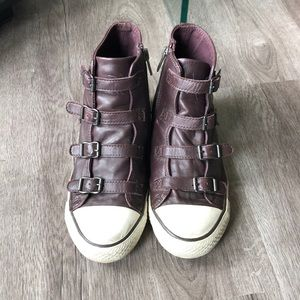ASH brown leather high top sneakers.  Zip on